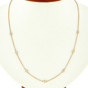 14K Rose Gold 0.50ctw 7 Bezel Station Round Diamond by the Yard Chain Necklace