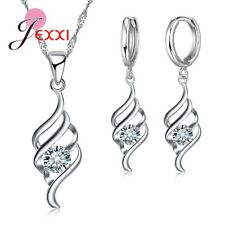 Jexxi 925 Sterling Silver Spiral CZ Necklace and Earring Set & Velvet Pouch