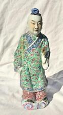 GRANDE ANTICO IN PORCELLANA CINESE Statua di figura in piedi con bastone di bambù