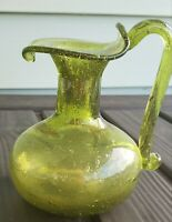 """MCM Green Bubble Pinched Art Glass 4.5""""  Vase carafe"""