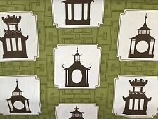 DURALEE FOLLY GREEN Asian Garden Temple Olive Green Brown Fabric BY THE YARD