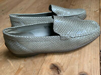 Slipper Mokkasins Loafer Waldläufer taupe Leder animal Print Schlange Gr 6
