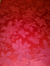 """Tablecloth  84"""" X 92"""" Oval Poly Cotton Damask  Red  Holiday  Poinsettia & Holly"""