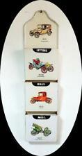 Vintage Metal Mail Sorter Letter Holder Antique Cars Office Wall Mount Hanging