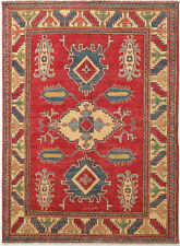 4X6 Hand-Knotted Kazak Carpet Tribal Red Fine Wool Area Rug D48557