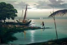 Seascape with Fisherman 24x36 by F. Galecia Art Philippines Oil Painting