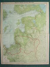 1921 grande carte ~ états baltes et la prusse orientale ~ lituanie curonien vilna