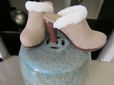 Juicy Couture Beige Suede Clogs Heels Fur Lined size 5 Worn Once with Studs