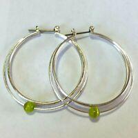 Silver wire hoop earrings yellow green bead CT17