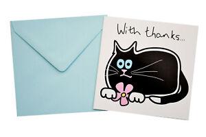 Single BLACK CAT THANK YOU Card.  Light Blue envelope
