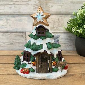 Resin Christmas Xmas Tree Fairy House Home Sculpture Decor Ornament CLEARANCE