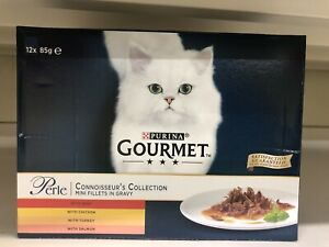 Gourmet Perle Adult Cat Mini Fillets In Gravy Connoisseurs Collection 12x85g New