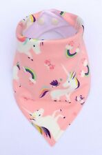Baby Girls Handmade Bandana Dribble Bib (Bibdana). Pink Unicorns. My Little Owl