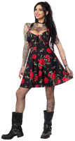 Sourpuss Magnolia Rose Garden Floral Rockabilly Gothic Sun Skater Dress SPDR404