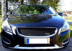 Sport Grill Grille BLACK MESH & MATTE CHROME FRAME for VOLVO S60 2011 2012 2013