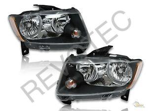 2011-2013 Jeep Grand Cherokee Black Housing Halogen Headlights Lamps RH & LH