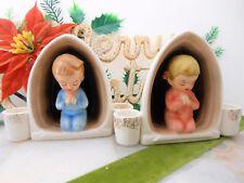 Vintage Lot 2 Holt Howard Japan 1959 Christmas Anytime Candle Holder Child Tot