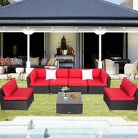 7PC Rattan Wicker Sofa Set Patio Sectional Couch Red Cushions Outdoor Furniture