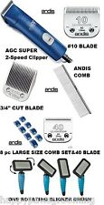 ANDIS ULTRAEDGE SUPER 2-Speed CLIPPER KIT-3/4HT,10&40 BLADE,8 GUIDE Combs,BRUSH