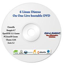 6 Linux operating system, Clonezilla Knoppix OpenSUSE PCLinuxOS Ubuntu Zorin DVD