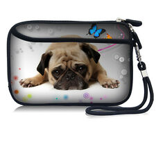 """Printed Cute Pug Bag Sleeve Case Pouch With Strap For 2.5"""" HDD Hard Disk Drive"""