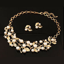 Vintage Gold Plated Leaves Branch Pearl Necklace+Earring Bib Crystal Wedding