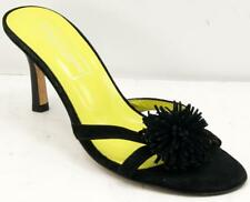Saks Fifth Avenue Women's Black Slide On Suede Leather Sandals 8 M Made In Italy