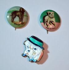 3 Vintage Dog Pins Afghan English Bull Terrier Pinback Button Enamel Pipe Hat