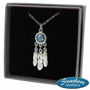 "Dream Catcher Necklace Paua Abalone Shell Pendant Silver Fashion Jewellery 18"""