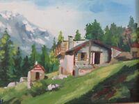 Vintage Landscape Signed ROSSI Framed Original Oil Painting on Wood Art antique