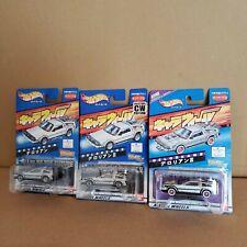 Set of 3 Bandai Hot Whells Charawheels Delorean 1 , 2 & 3 mini car RARE E Set