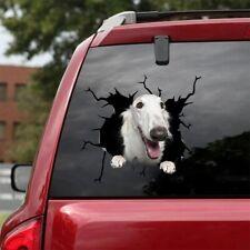"White Borzoi Crack Decal Car Window Dog 3D Sticker Broken Glass realistic 12x12"""