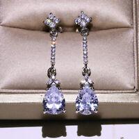 Womens Long Drop Tassel Zircon Earrings Teardrop Crystal Topaz Earrings Ear Drop