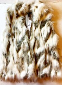 White House/Black Market Faux Fur Vest~Size M~NWT~$180.00