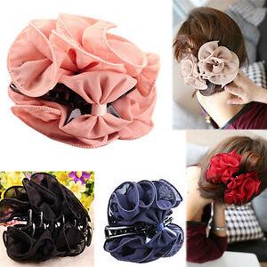 Fashion Womens Chiffon Rose Flower Bow Jaw Clip Barrette Hair Claw Gift Hot Y1