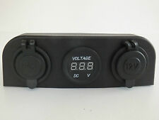 Voltmeter, 12V Cigarette & Double USB Power Socket Surface Mount 4x4 Camper Boat