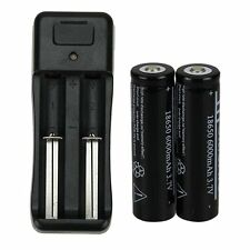 Black 2pcs 18650 6000mAh 3.7V Li-ion Rechargeable Battery + Battery Charger ML