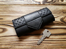 Genuine Leather Key Case Key Holder Key Organizer Key Cover Unisex Geometrical