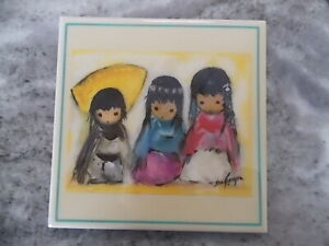 """DeGrazia Tile Wee Three 6"""" X 6"""" with Stand 3 children"""