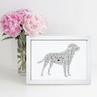 Personalised Word Wall Art Labrador Retriever Pet Dog Picture Print Frame Gift