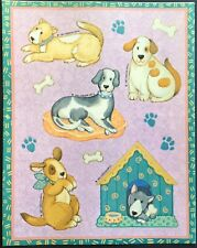 Vintage Stickers - Gibson Greetings - Adorable Dogs - Dated 1991