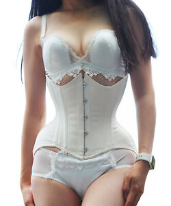 White Cotton Steel Boned Heavy Duty Waist Trainer Shaper Underbust Curvy Corset