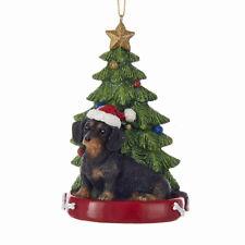 Dachshund Black & Tan w/Tree Ornament