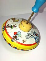 Vintage Ohio Art Lithograph Spinning Top Toy Circus Theme - Works! Tin Litho Toy