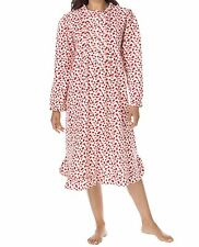 Plus Size Ivory Red Floral Cotton Flannel Print Short Nightgown Size 3X(30W/32W)