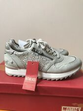 Mustang Ladies Trainer Size 4/37 In Silver/Grey