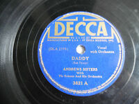"Andrews Sisters Decca 3821 Daddy Sleepy Serenade 78rpm 10"" 198-4NF"