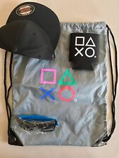 NEW ! SONY PLAYSTATION : BAG, SUNGLASSES, BASEBALL HAT, & CUP HOLDER)