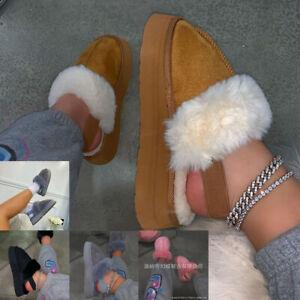 Women Furry Slippers Fur Warm Shoes Ladies Slip on Platform Female Home Slippers