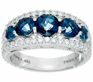 QVC Judith Ripka Sterling Silver 2.20 cttw Blue Topaz Tapered Ring 10 $284